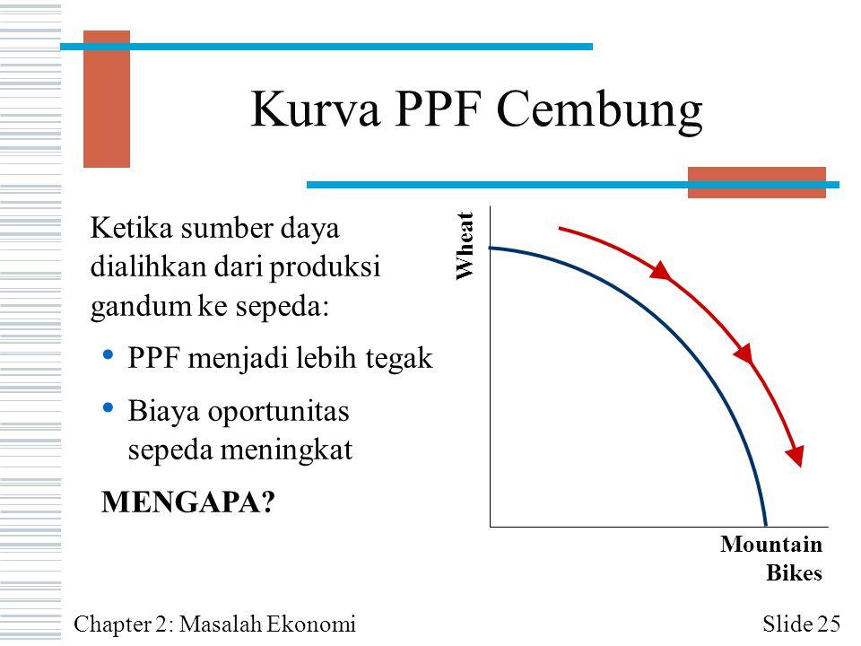 Kurva PPF Cembung Ketika sumber daya dialihkan dari produksi gandum ke sepeda: PPF menjadi lebih tegak.