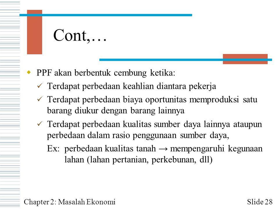 Cont,… PPF akan berbentuk cembung ketika: