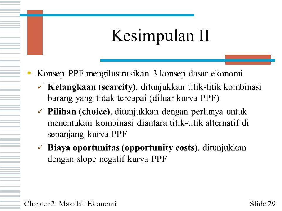 Kesimpulan II Konsep PPF mengilustrasikan 3 konsep dasar ekonomi