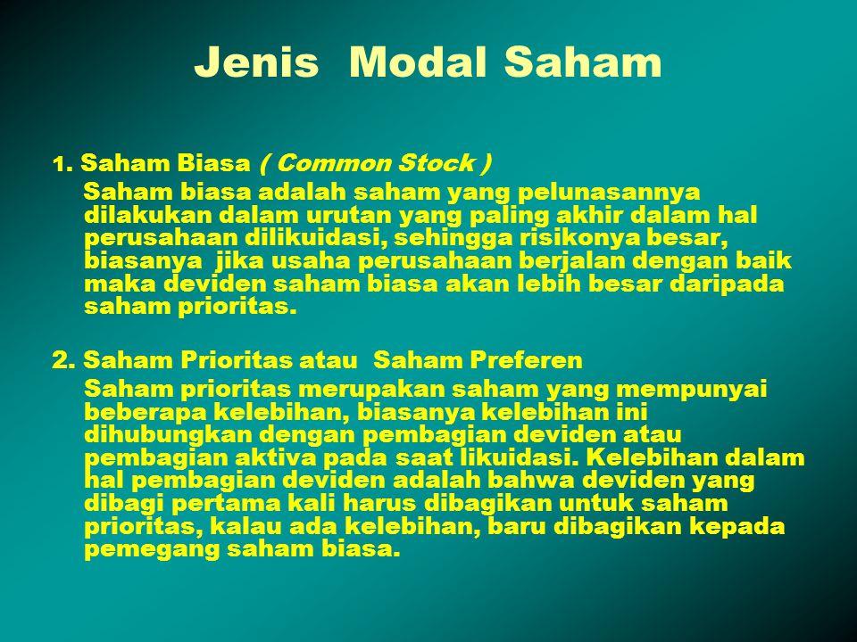 Jenis Modal Saham 1. Saham Biasa ( Common Stock )