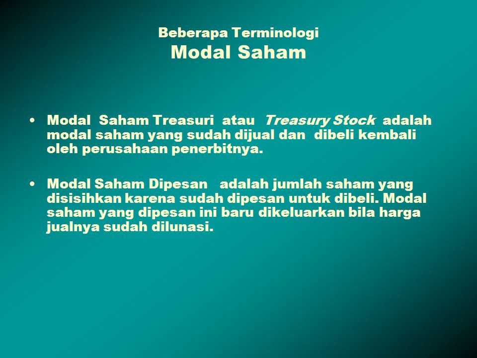 Beberapa Terminologi Modal Saham