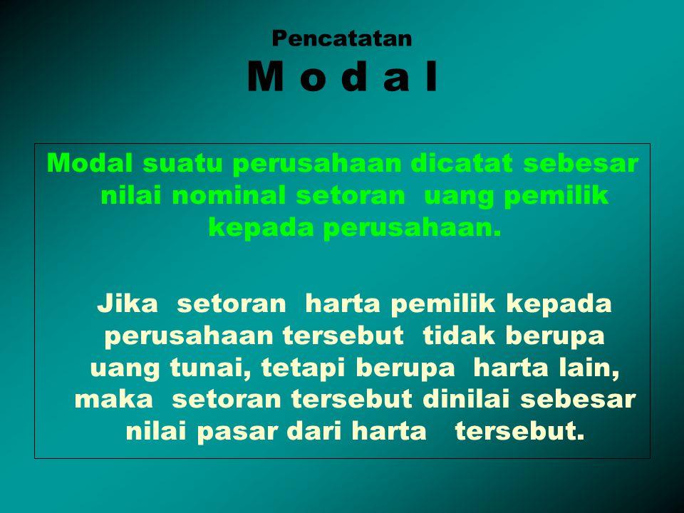 Pencatatan M o d a l Modal suatu perusahaan dicatat sebesar nilai nominal setoran uang pemilik kepada perusahaan.