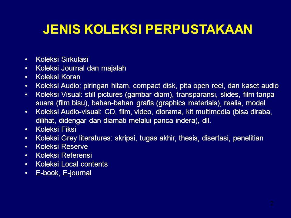 JENIS KOLEKSI PERPUSTAKAAN
