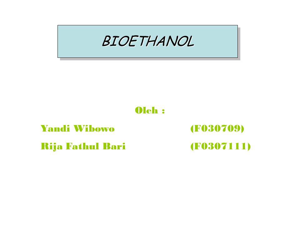 BIOETHANOL Oleh : Yandi Wibowo (F030709) Rija Fathul Bari (F0307111)