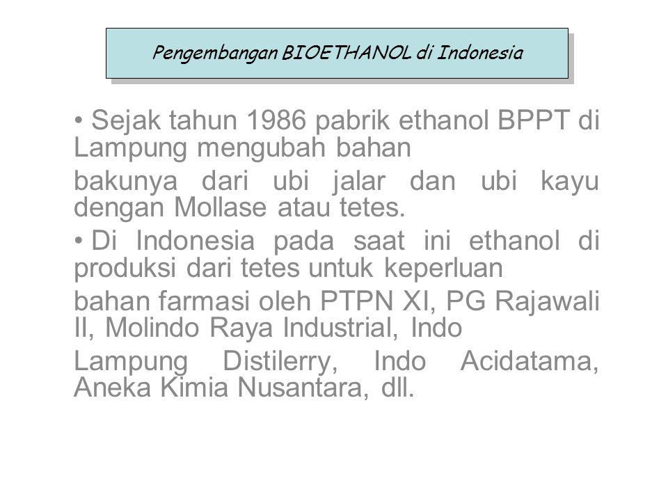 Pengembangan BIOETHANOL di Indonesia