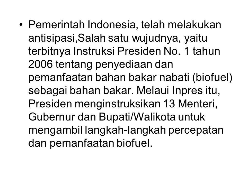 Pemerintah Indonesia, telah melakukan antisipasi,Salah satu wujudnya, yaitu terbitnya Instruksi Presiden No.