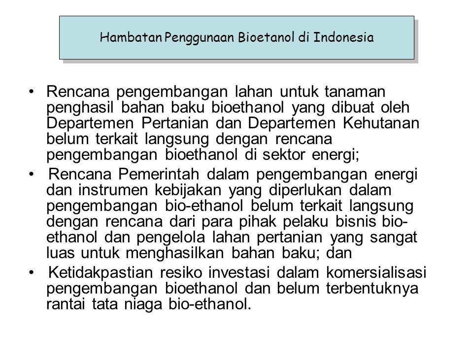 Hambatan Penggunaan Bioetanol di Indonesia