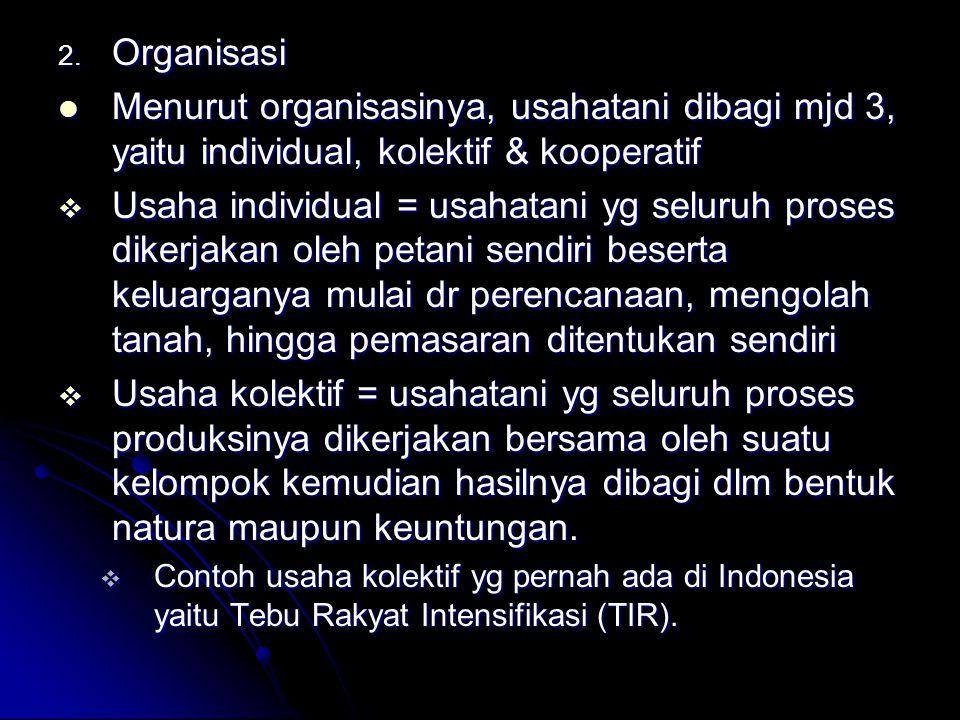 Organisasi Menurut organisasinya, usahatani dibagi mjd 3, yaitu individual, kolektif & kooperatif.