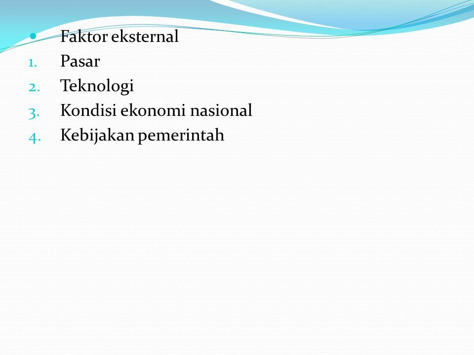 Faktor eksternal Pasar Teknologi Kondisi ekonomi nasional Kebijakan pemerintah