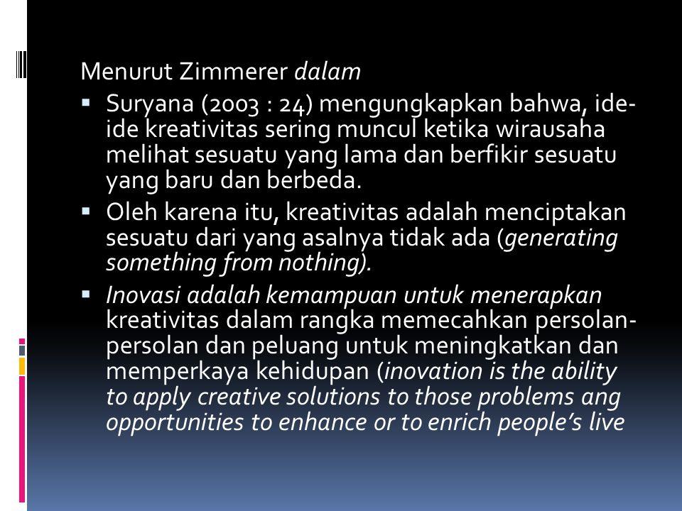 Menurut Zimmerer dalam