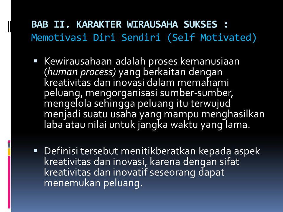 BAB II. KARAKTER WIRAUSAHA SUKSES : Memotivasi Diri Sendiri (Self Motivated)