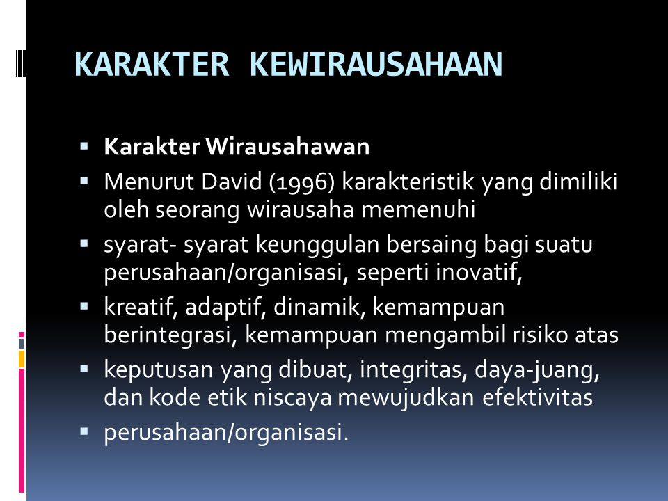 KARAKTER KEWIRAUSAHAAN