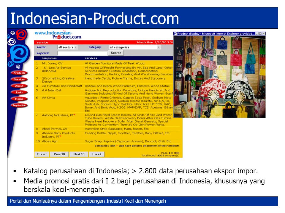 Indonesian-Product.com Katalog perusahaan di Indonesia; > 2.800 data perusahaan ekspor-impor.