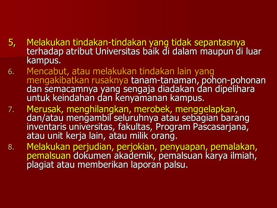 5, Melakukan tindakan-tindakan yang tidak sepantasnya terhadap atribut Universitas baik di dalam maupun di luar kampus.