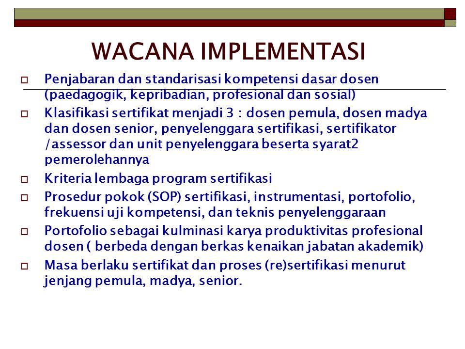 WACANA IMPLEMENTASI Penjabaran dan standarisasi kompetensi dasar dosen (paedagogik, kepribadian, profesional dan sosial)