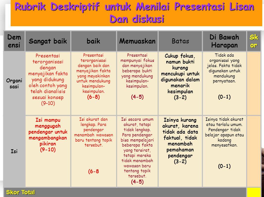 Rubrik Deskriptif untuk Menilai Presentasi Lisan Dan diskusi
