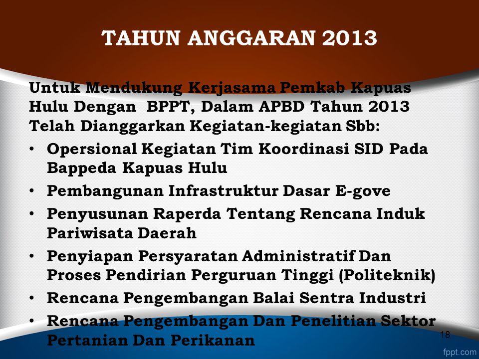 TAHUN ANGGARAN 2013 Untuk Mendukung Kerjasama Pemkab Kapuas Hulu Dengan BPPT, Dalam APBD Tahun 2013 Telah Dianggarkan Kegiatan-kegiatan Sbb: