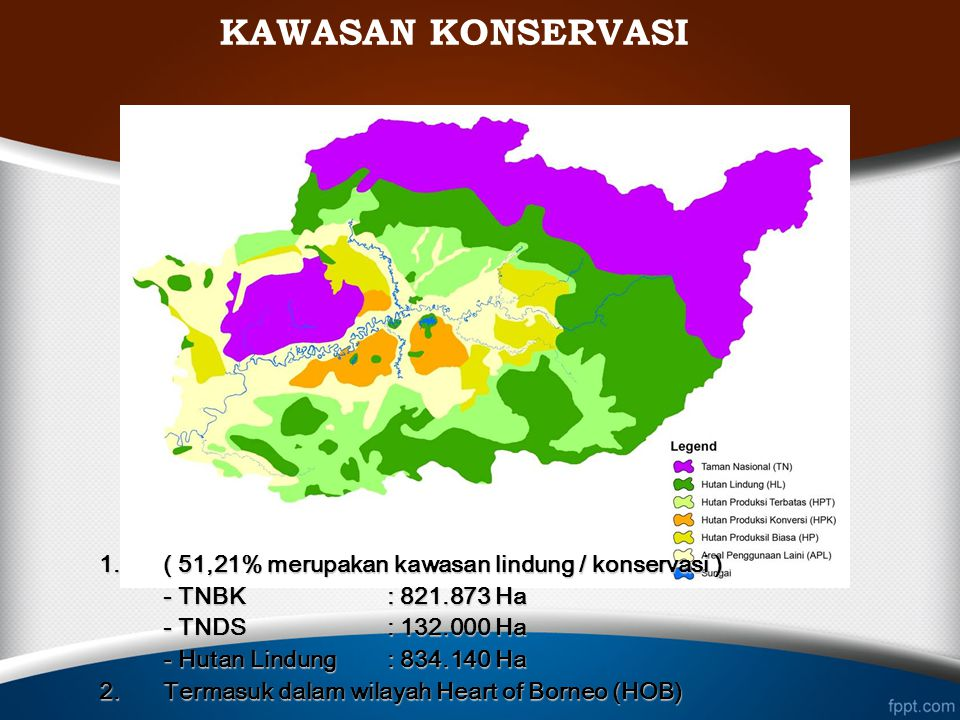 KAWASAN KONSERVASI 1. ( 51,21% merupakan kawasan lindung / konservasi ) - TNBK : 821.873 Ha. - TNDS : 132.000 Ha.