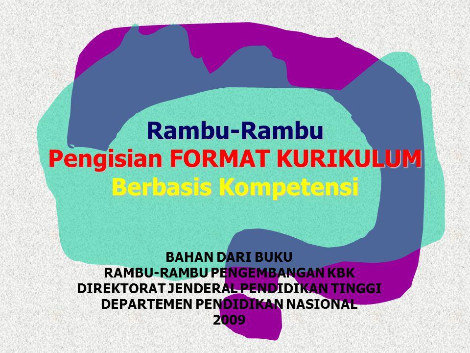 Rambu-Rambu Pengisian FORMAT KURIKULUM Berbasis Kompetensi