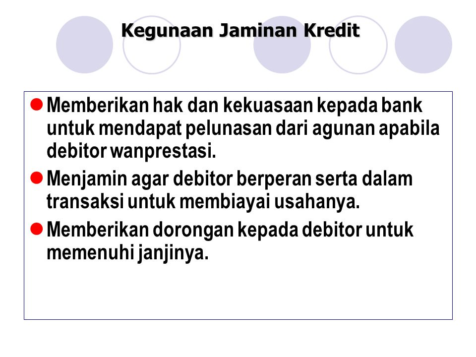 Kegunaan Jaminan Kredit