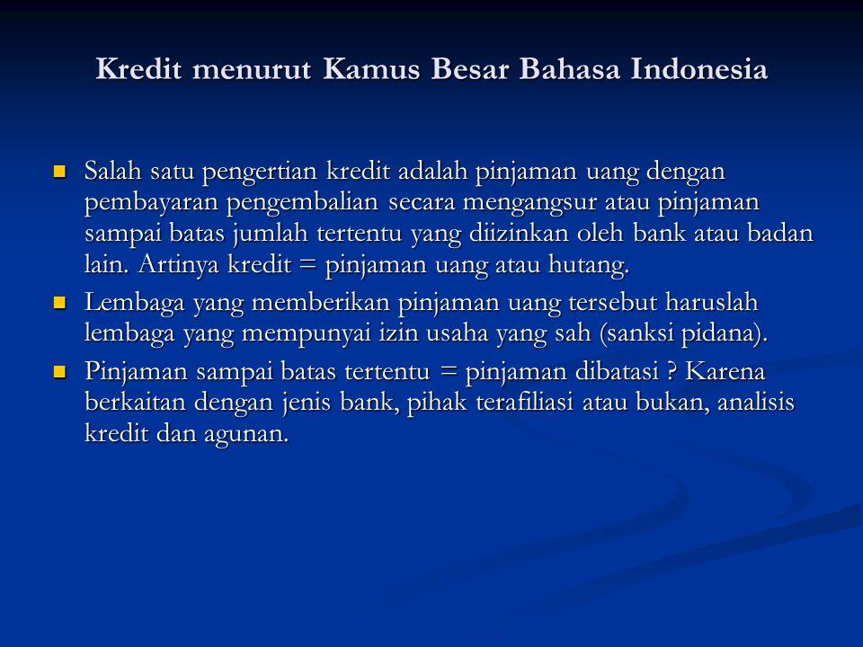 Kredit menurut Kamus Besar Bahasa Indonesia