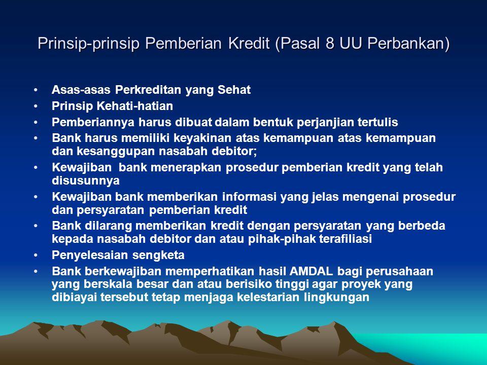 Prinsip-prinsip Pemberian Kredit (Pasal 8 UU Perbankan)
