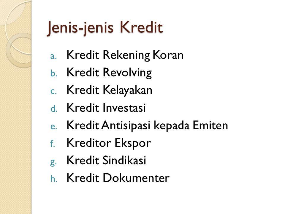 Jenis-jenis Kredit Kredit Rekening Koran Kredit Revolving