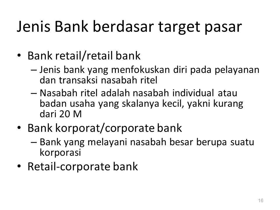 Jenis Bank berdasar target pasar