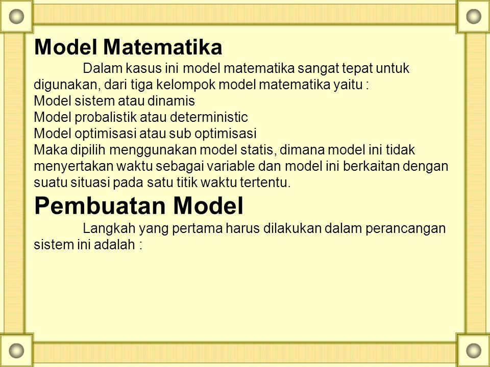 Pembuatan Model Model Matematika