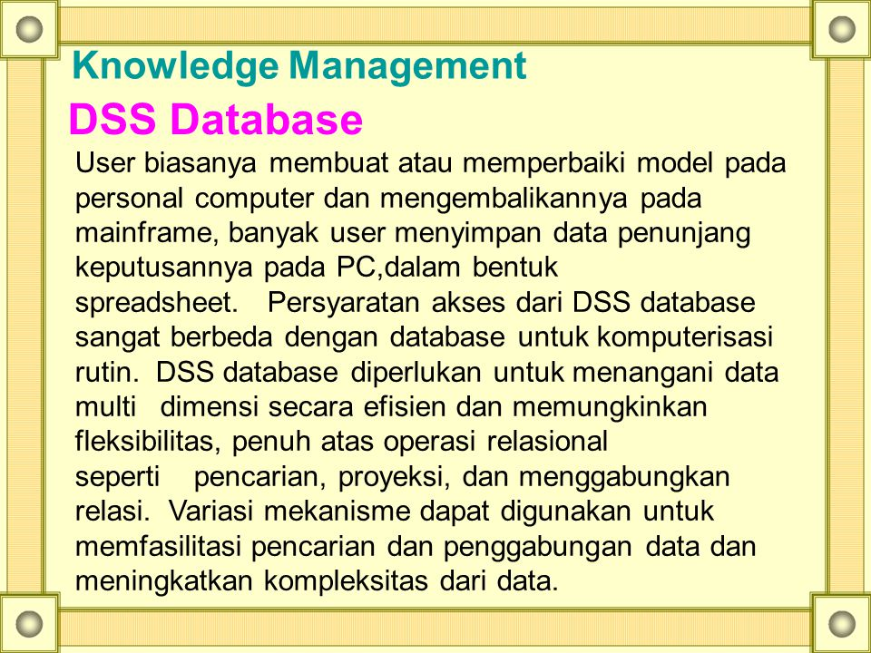 DSS Database Knowledge Management