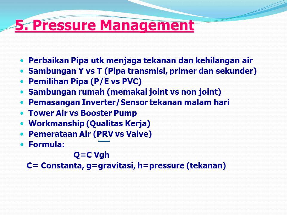 5. Pressure Management Perbaikan Pipa utk menjaga tekanan dan kehilangan air. Sambungan Y vs T (Pipa transmisi, primer dan sekunder)