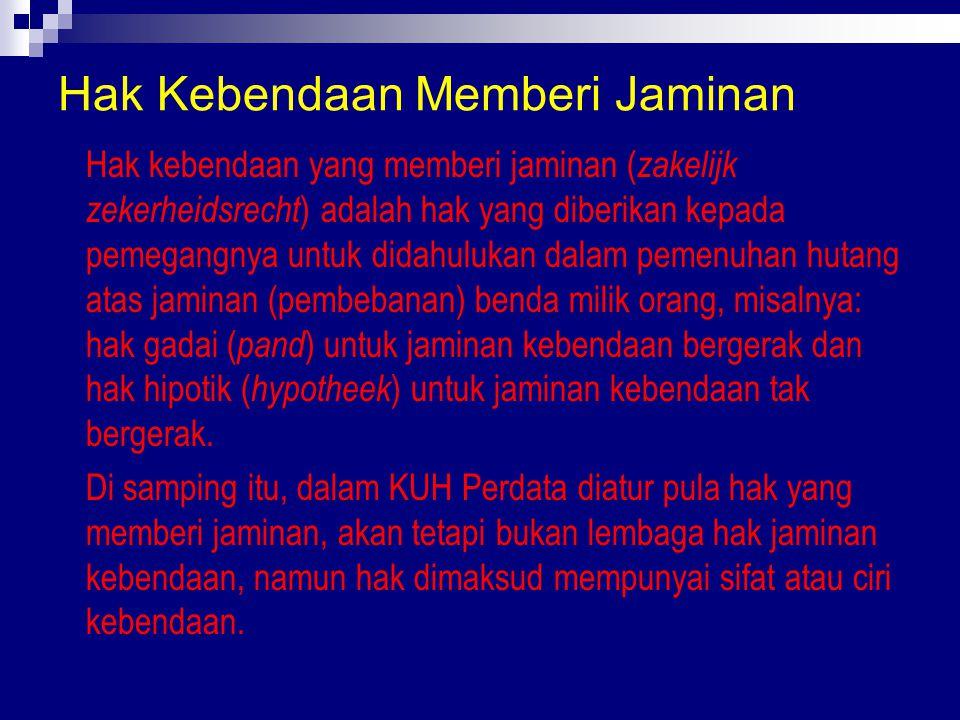 Hak Kebendaan Memberi Jaminan