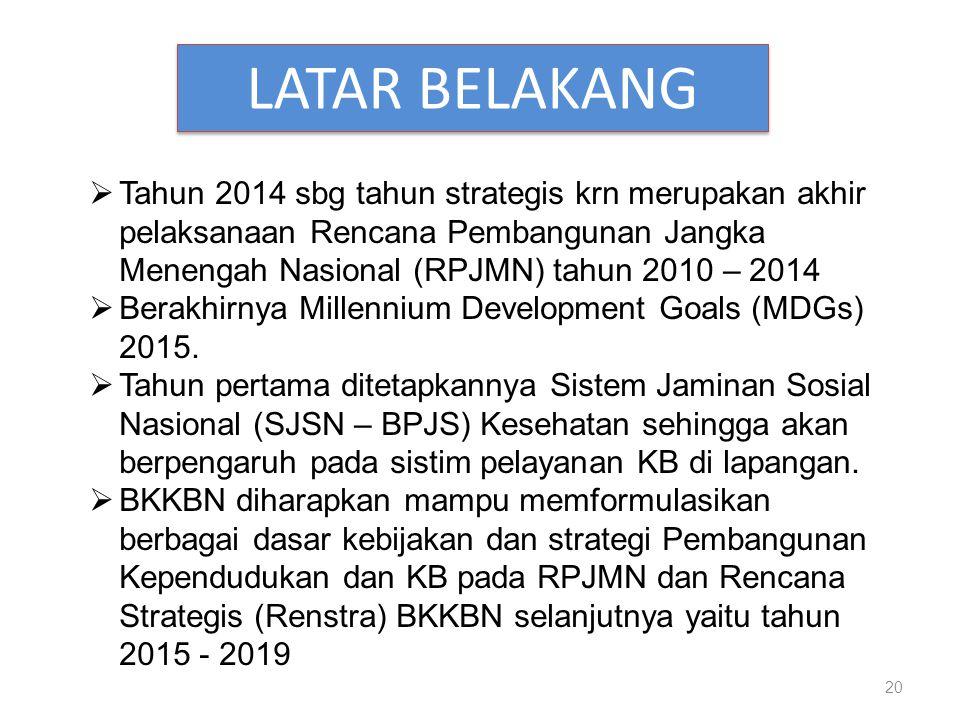 LATAR BELAKANG Tahun 2014 sbg tahun strategis krn merupakan akhir pelaksanaan Rencana Pembangunan Jangka Menengah Nasional (RPJMN) tahun 2010 – 2014.