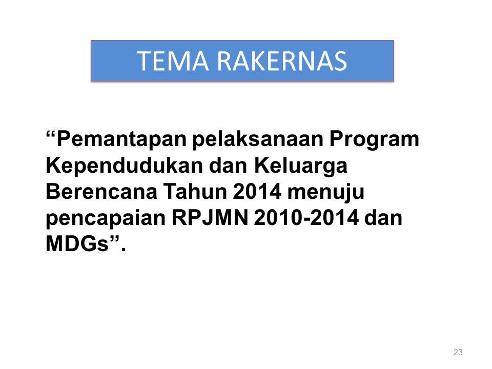 TEMA RAKERNAS Pemantapan pelaksanaan Program Kependudukan dan Keluarga Berencana Tahun 2014 menuju pencapaian RPJMN 2010-2014 dan MDGs .