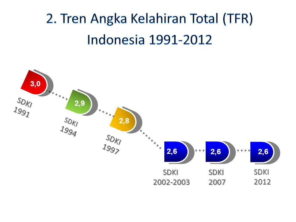 2. Tren Angka Kelahiran Total (TFR) Indonesia 1991-2012