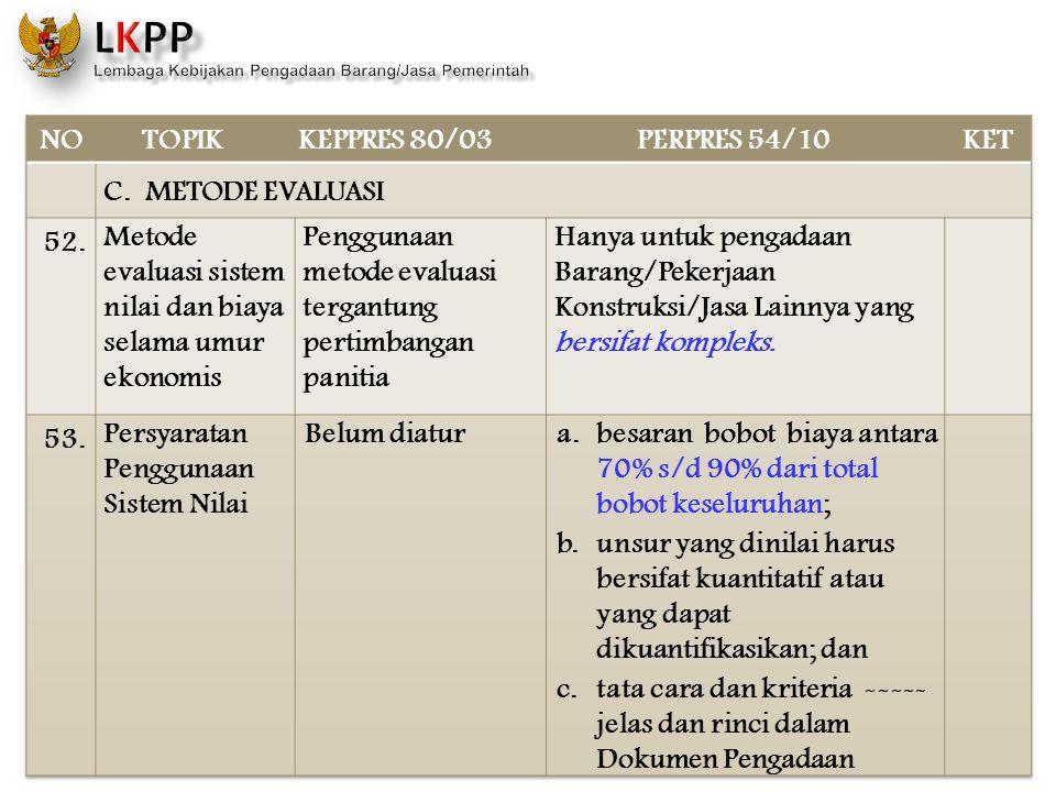 NO TOPIK. KEPPRES 80/03. PERPRES 54/10. KET. C. METODE EVALUASI. 52. Metode evaluasi sistem nilai dan biaya selama umur ekonomis.