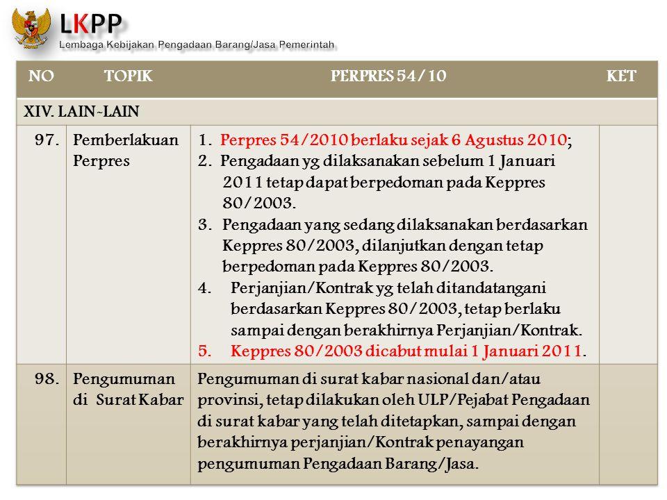 NO TOPIK. PERPRES 54/10. KET. XIV. LAIN-LAIN. 97. Pemberlakuan Perpres. 1. Perpres 54/2010 berlaku sejak 6 Agustus 2010;