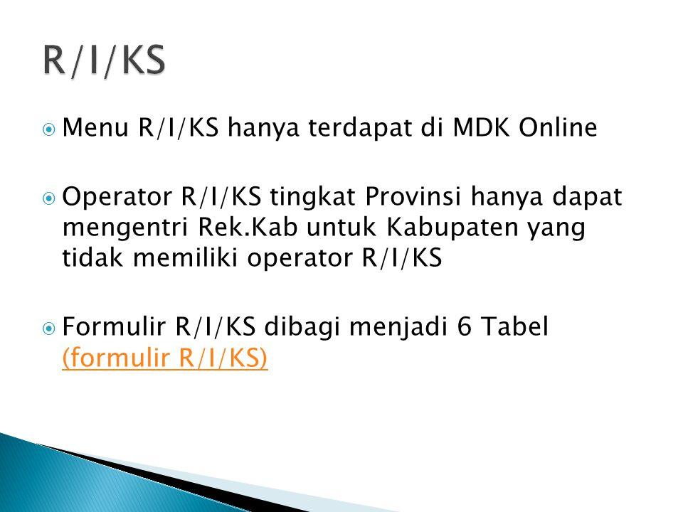 R/I/KS Menu R/I/KS hanya terdapat di MDK Online