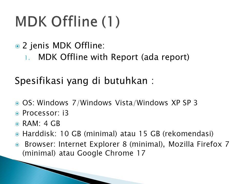 MDK Offline (1) Spesifikasi yang di butuhkan : 2 jenis MDK Offline: