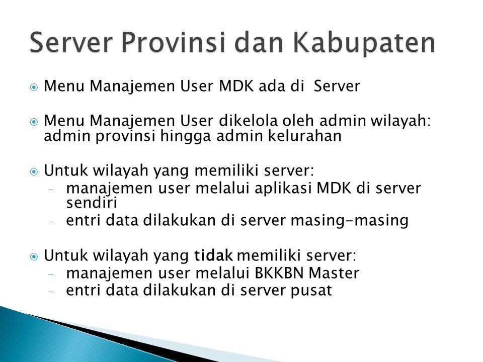 Server Provinsi dan Kabupaten