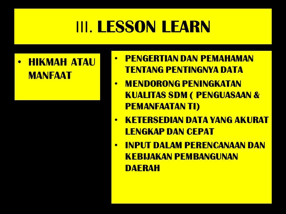 III. LESSON LEARN HIKMAH ATAU MANFAAT