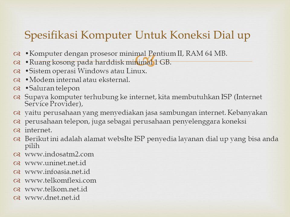 Spesifikasi Komputer Untuk Koneksi Dial up