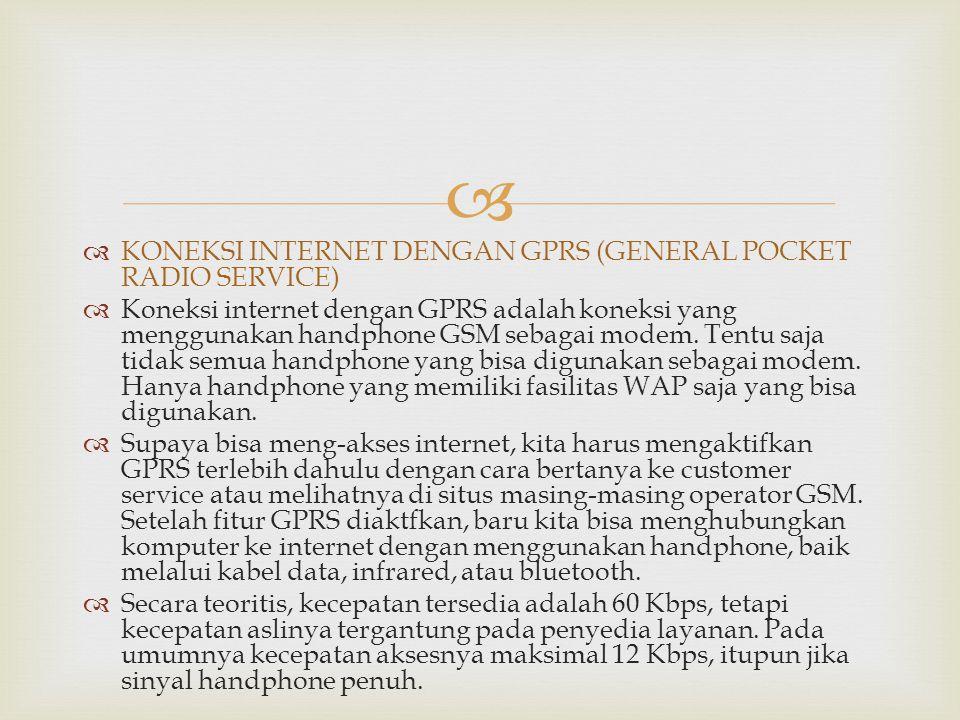 KONEKSI INTERNET DENGAN GPRS (GENERAL POCKET RADIO SERVICE)