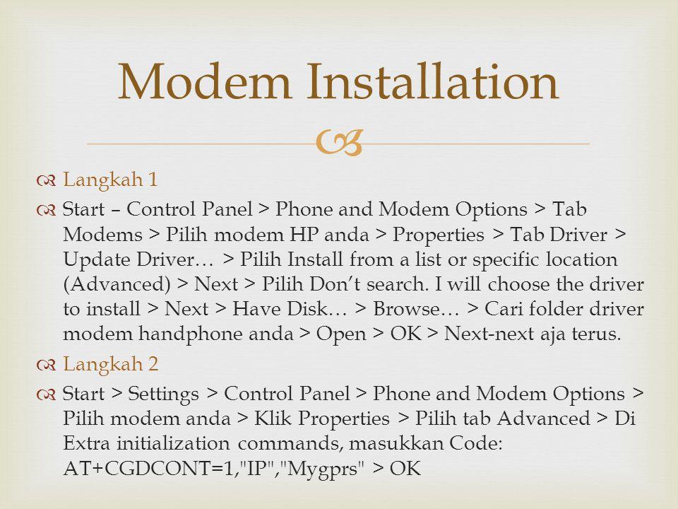 Modem Installation Langkah 1