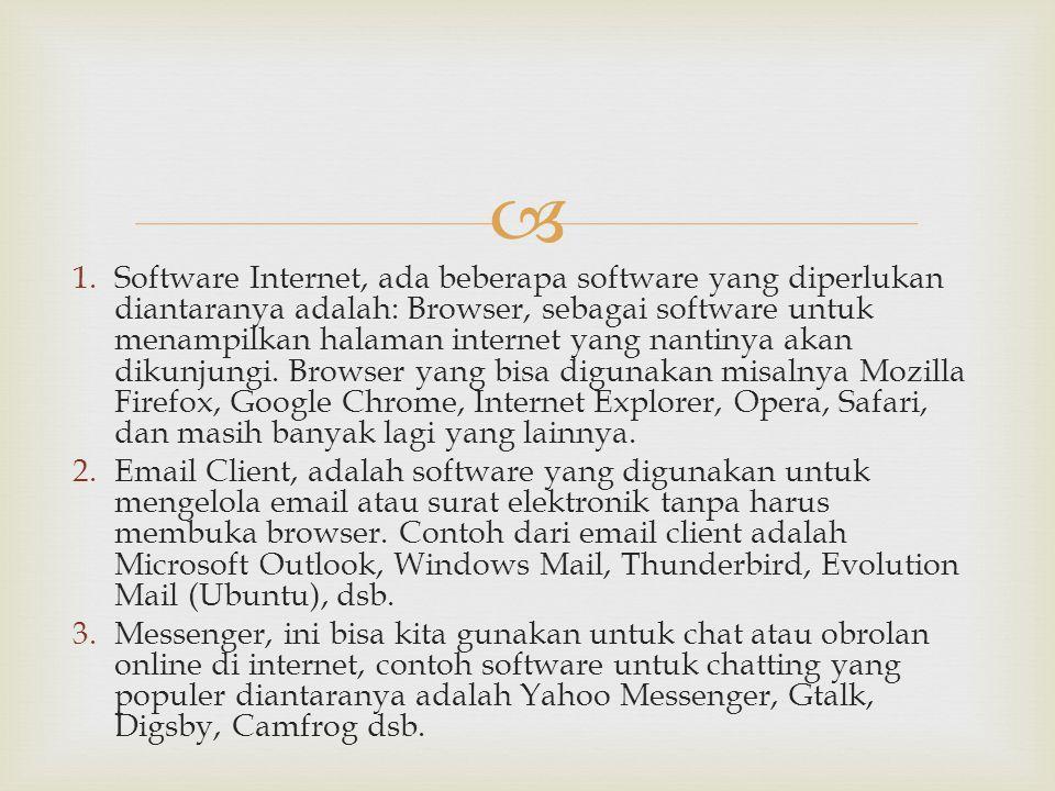 Software Internet, ada beberapa software yang diperlukan diantaranya adalah: Browser, sebagai software untuk menampilkan halaman internet yang nantinya akan dikunjungi. Browser yang bisa digunakan misalnya Mozilla Firefox, Google Chrome, Internet Explorer, Opera, Safari, dan masih banyak lagi yang lainnya.