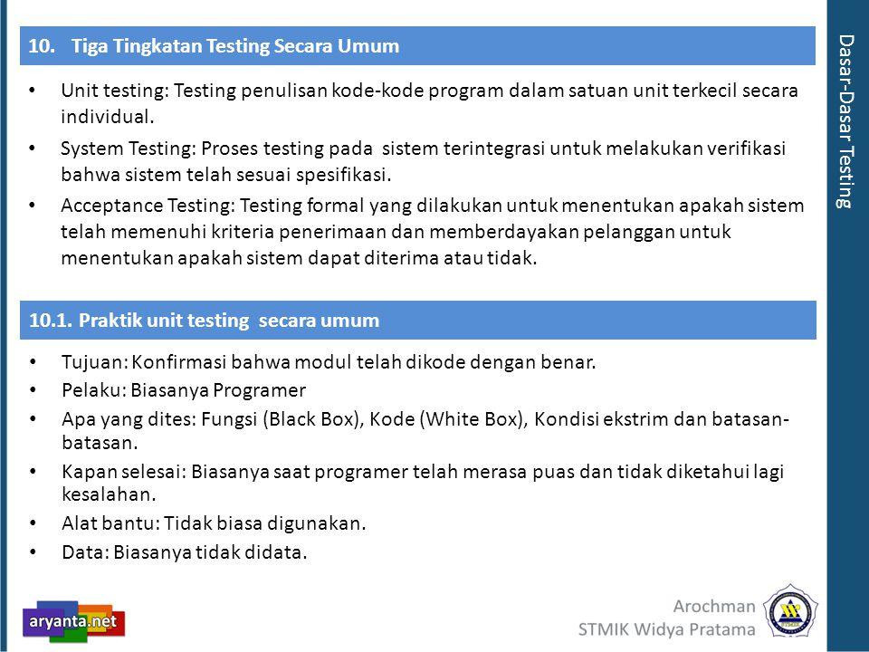 10. Tiga Tingkatan Testing Secara Umum