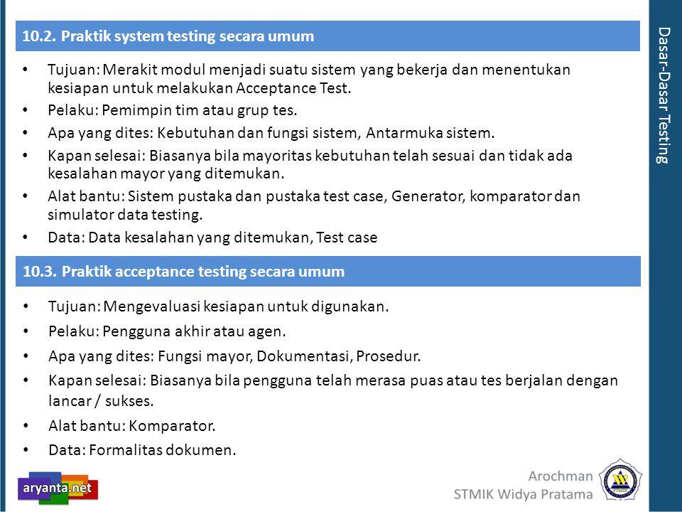10.2. Praktik system testing secara umum
