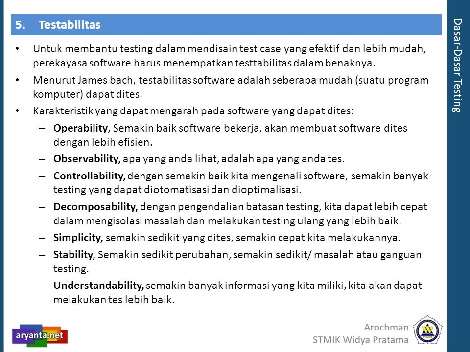 5. Testabilitas Dasar-Dasar Testing
