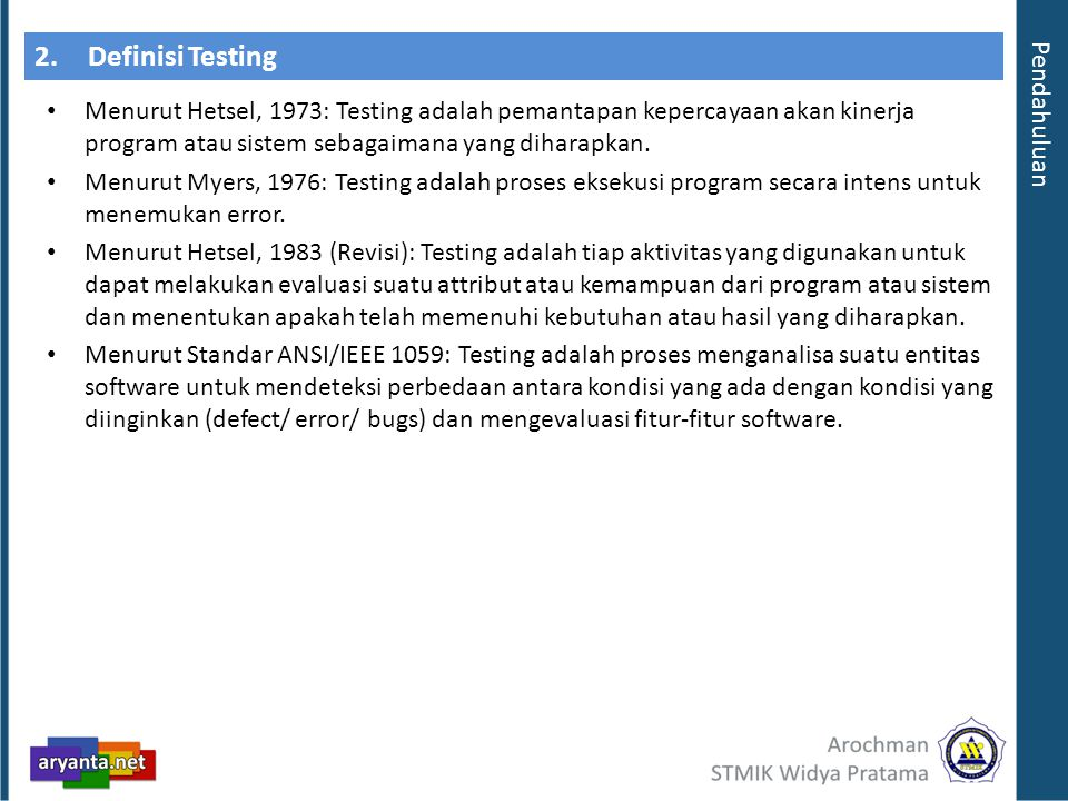 2. Definisi Testing Pendahuluan