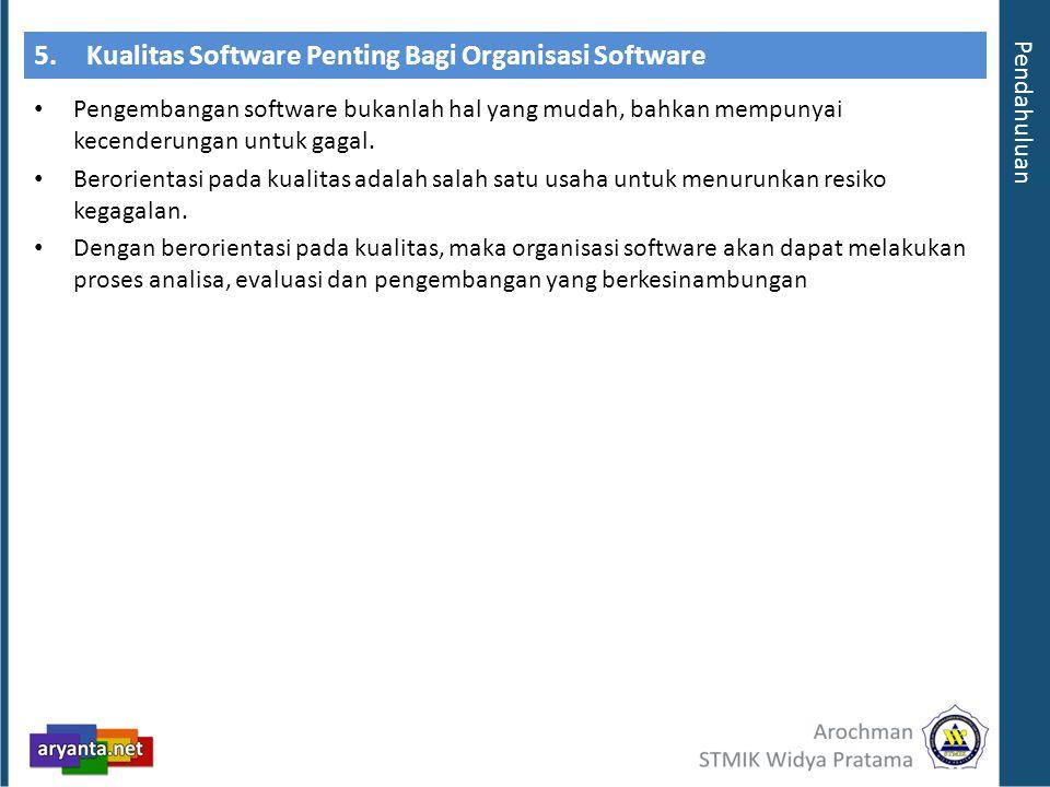 5. Kualitas Software Penting Bagi Organisasi Software